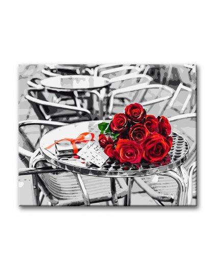 Malowanie po numerach – Bukiet róż w kawiarni