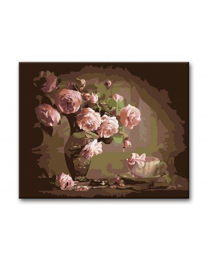 Malowanie po numerach – Różowe róże w wazonie