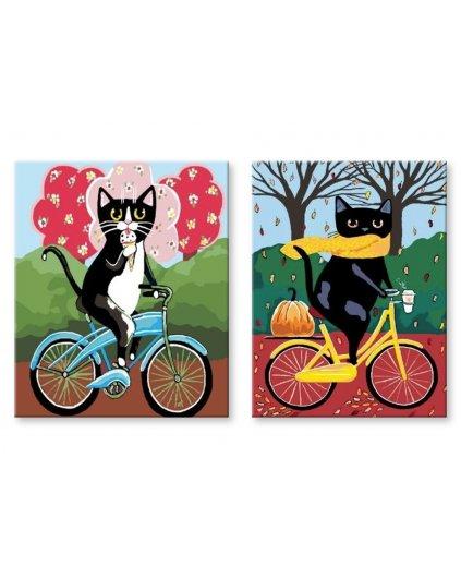 Malowanie po numerach – Komplet – Koty na rowerze