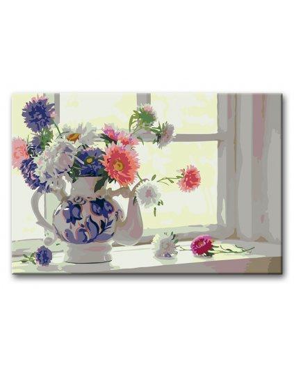 Malowanie po numerach – Astry na oknie