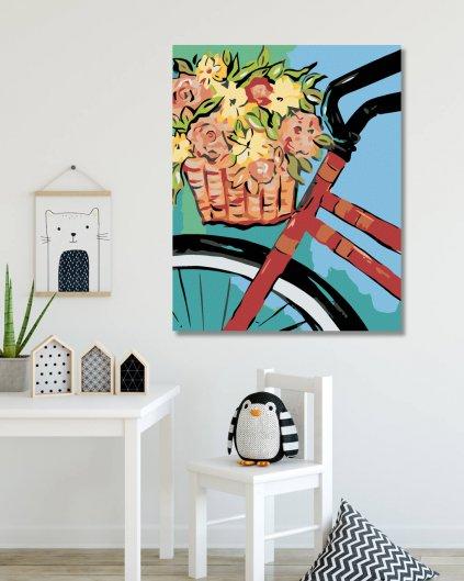 Malowanie po numerach – Rower z koszem kwiatów