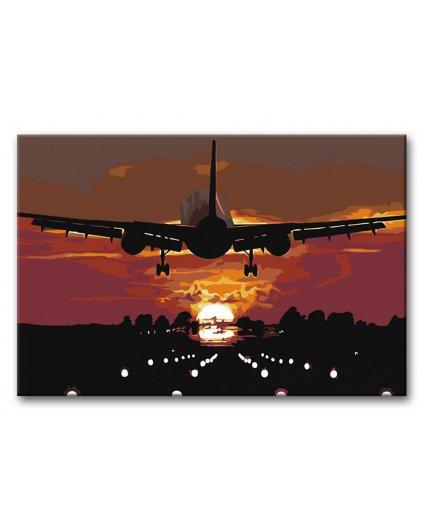 Malowanie po numerach - Lądowanie w zachodzącym słońcu