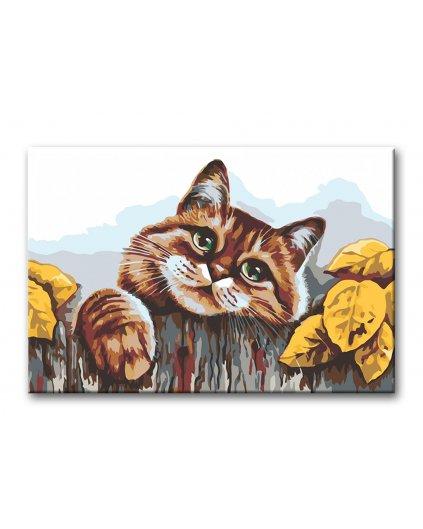 Malowanie po numerach - Kot za płotem z liściami