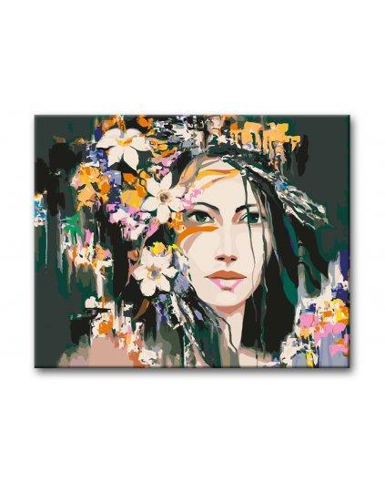 Malowanie po numerach - Kobieta w kwiatach