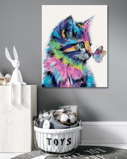 Malowanie po numerach - Kotek z motylkiem
