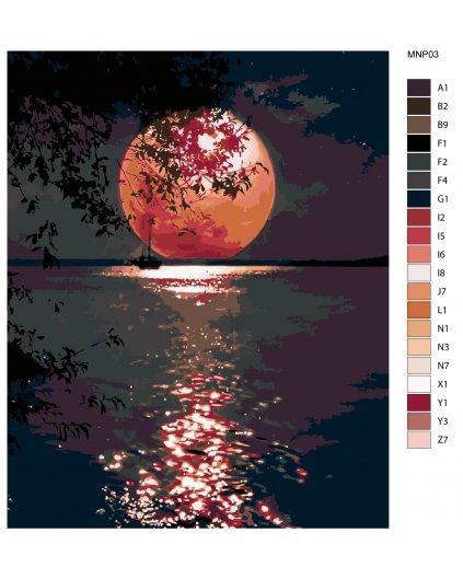 Malowanie po numerach - Purpurowa pełnia księżyca