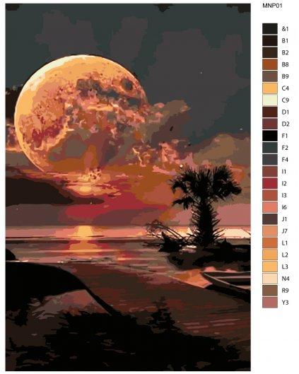 Malowanie po numerach - Złota pełnia księżyca nad morzem
