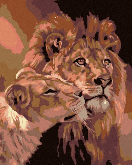 Malowanie po numerach – Lew z lwica