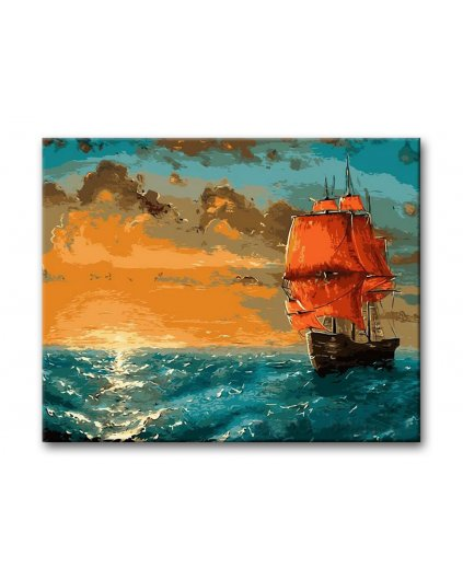 Malowanie po numerach – Zachód słońca na morzu