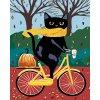 Malowanie po numerach - Czarny kot i żółty rower