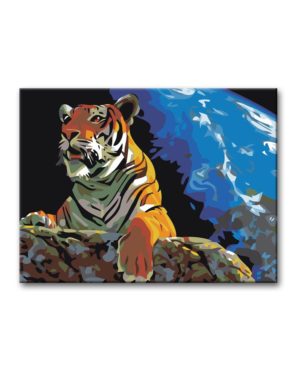Maľovanie podľa čísel - TIGER POD NOČNOU OBLOHOU