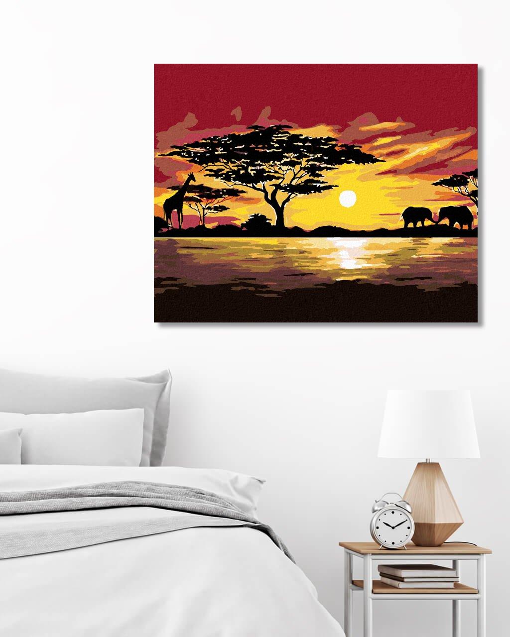 Maľovanie podľa čísel - AFRIKA ŽIRAFA A SLONI