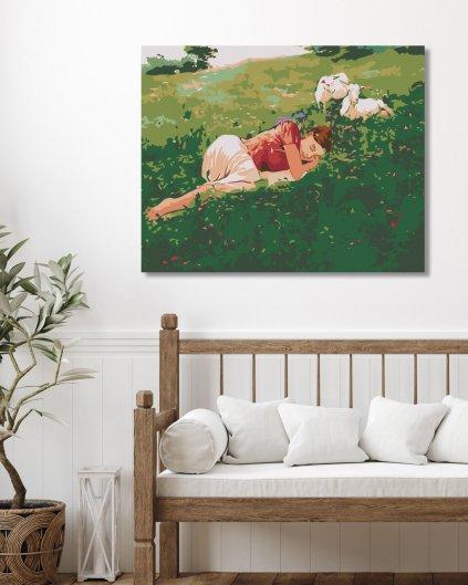 Maľovanie podľa čísel - SPIACA ŽENA V TRÁVE A KOZLIATKA