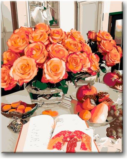 Maľovanie podľa čísel - ORANŽOVÁ RUŽA A KNIHA NA STOLE