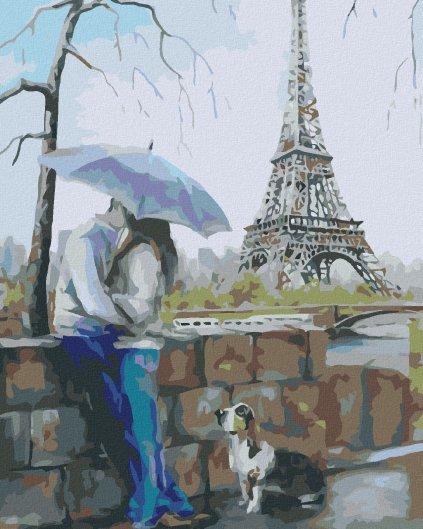 Maľovanie podľa čísel - MILENCI SO PSOM PRI EIFFELOVKE