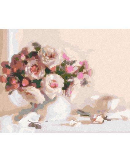 Maľovanie podľa čísel - RUŽE A ŠÁLOK ČAJU
