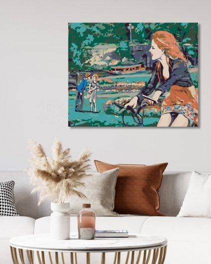 Maľovanie podľa čísel - ŽENA NA BICYKLI V PARKU