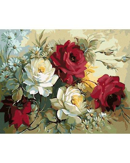 Maľovanie podľa čísel - KYTICA MAĽOVANÝCH RUŽÍ