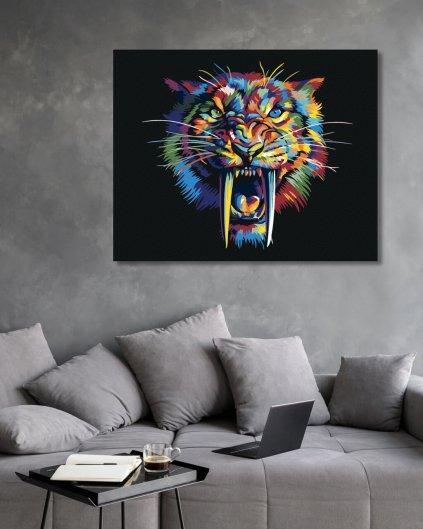 Maľovanie podľa čísel - FAREBNÝ ŠABĽOZUBÝ TIGER