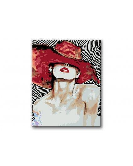 Maľovanie podľa čísel - KRÁSNA ŽENA S VEĽKÝM ČERVENÝM KLOBÚKOM