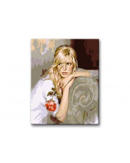 Maľovanie podľa čísel - ŽENA S UTRHNUTOU RUŽOU