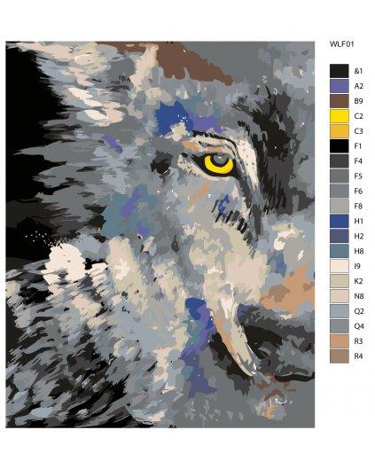 Maľovanie podľa čísel - VLČÍ POHĽAD