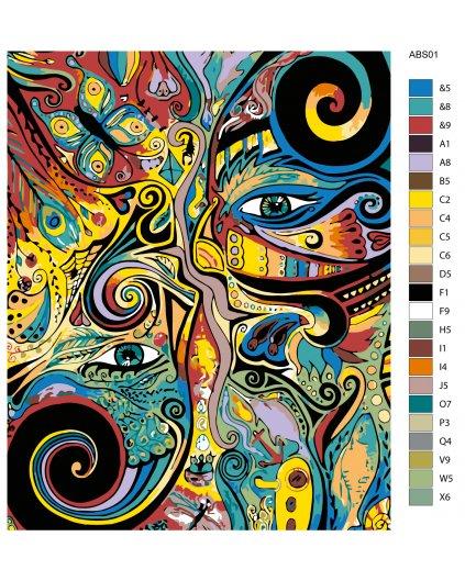 Maľovanie podľa čísel - ABSTRAKCIA HLAVY