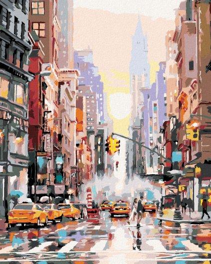 Maľovanie podľa čísel - ULICA V NEW YORKU A ŽLTÉ TAXÍKY (RICHARD MACNEIL)