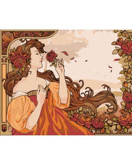 Maľovanie podľa čísel - REPRODUKCIA ŽENA A RUŽA ( ALFONS MUCHA)