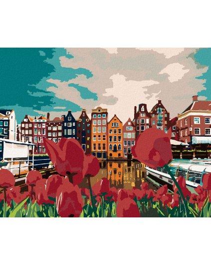 Maľovanie podľa čísel - TULIPÁNY V AMSTERDAME