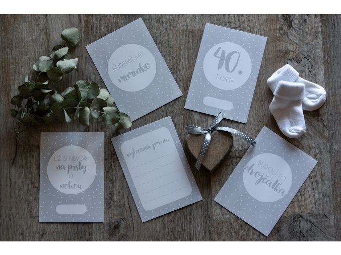 TĚHOTENSKÉ milníkové kartičky polka dot grey 30ks (Dárková krabička Milníkové kartičky bez dárkové krabičky)