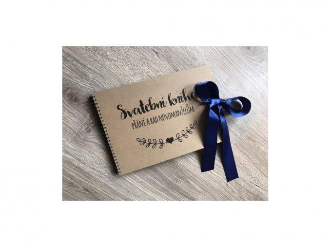 Svatební kniha Přání a rad novomanželům- rustic - Modrá