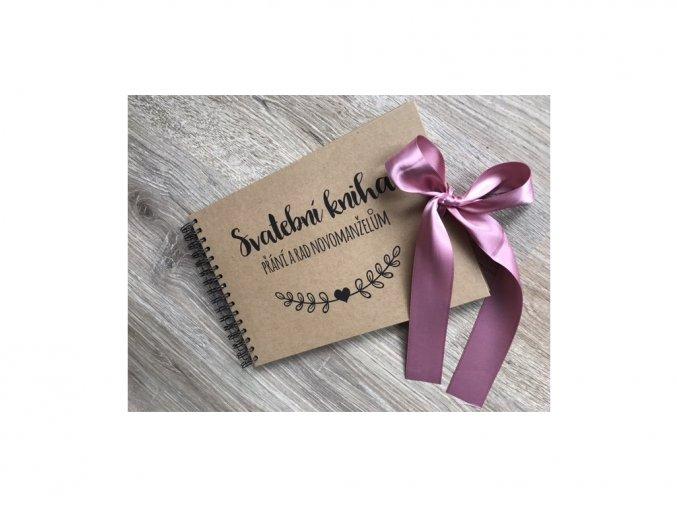 Svatební kniha Přání a rad novomanželům - rustic - Staro růžová