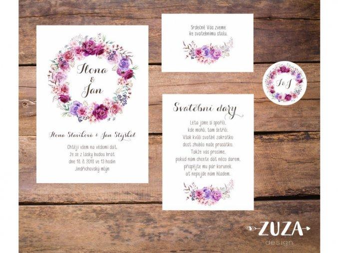 Svatební oznámení no.45 (Varianty produktu Štítek kulatý 5cm)