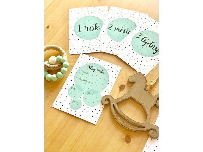 Milníkové kartičky polka dot mint PRO MIMINKO 35ks (UNISEX) (Dárková krabička Milníkové kartičky bez dárkové krabičky)