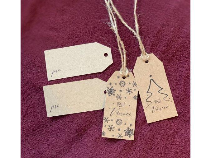 Visačky na vánoční dárky rustic