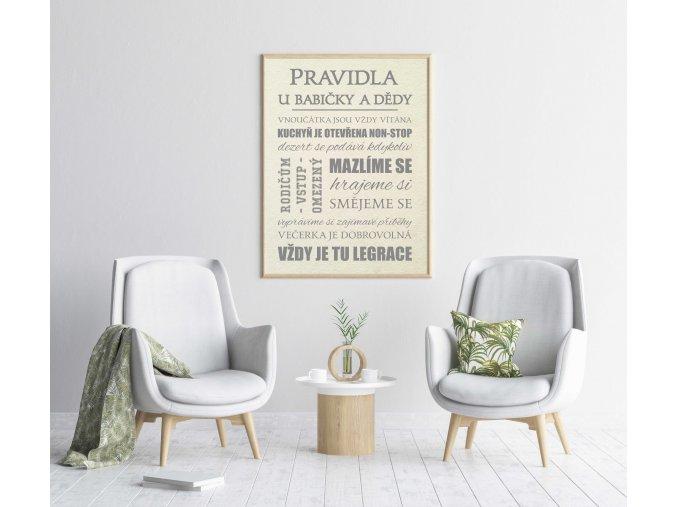 Pravidla u babičky a dědy (Velikost S (A4 21x29,7cm), Verze Tištěná s rámečkem)