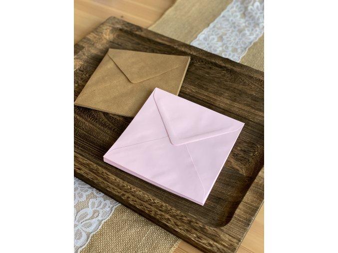 Obálka čtvercová rustic/růžová (155x155mm) (Barva Světle růžová)