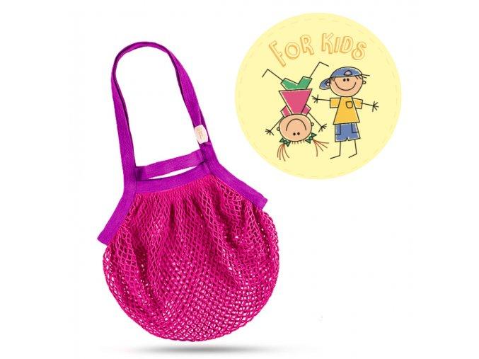 Síťová taška přes rameno dětská – růžovo-fialová