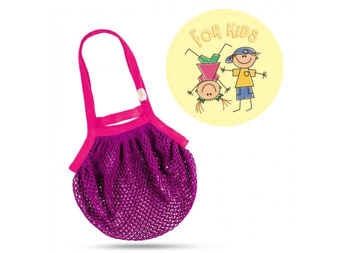 Síťová taška přes rameno dětská – fialovo-růžová