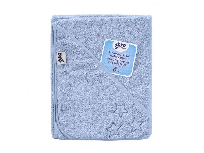 bio bavlnena frote osuska s kapuci xkko organic 90x90 baby blue stars 9d8