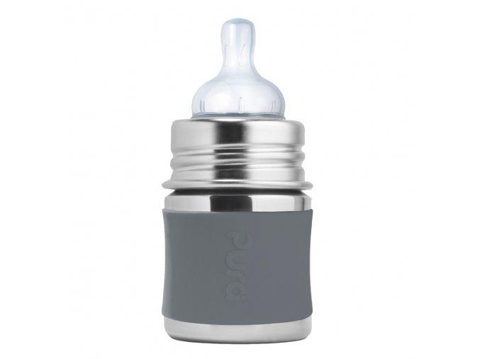 3 Pura nerezova dojcenska flasa 150ml Siva