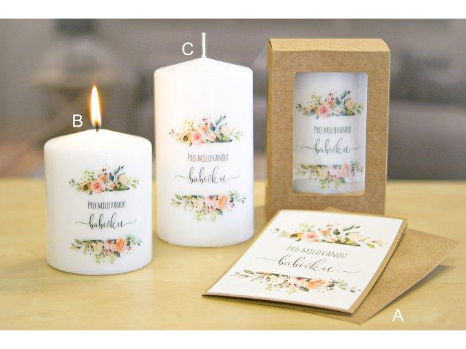 """Svíčka s přáním """"Pro milovanou babičku"""""""