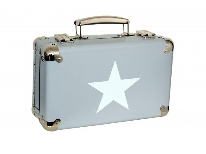 885 nytovany kufr 30cm sedy s bilou hvezdou