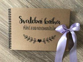 Svatební kniha Přání a rad novomanželům - rustic - Fialová