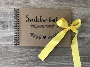 Svatební kniha Přání a rad novomanželům - rustic - Žlutá