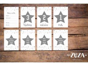 Milníkové kartičky hvězdičky šedé PRO MIMINKO - 35ks (HOLČIČKA)
