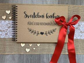 Svatební kniha Přání a rad novomanželům - rustic - Červená