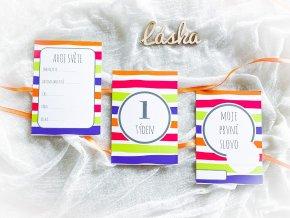 Milníkové kartičky PRO MIMINKO summer stripes - 35ks (UNISEX)