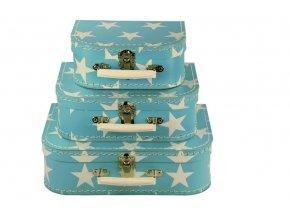sada 3 detskych kufriku modre hvezdy